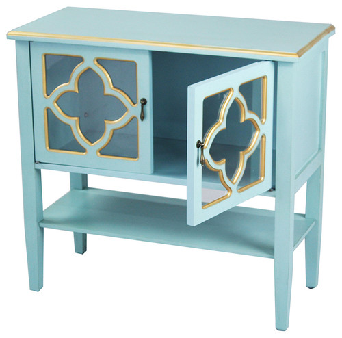 2-Door Console Cabinet, Quatrefoil Glass Inserts, Shelf-MDF Wood Clear Glass