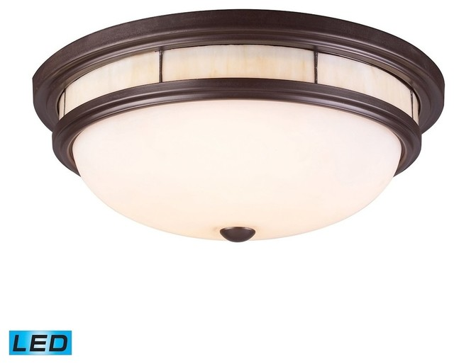 Tiffany 3-Light Flush Mount, Oil Rubbed Bronze, Led.