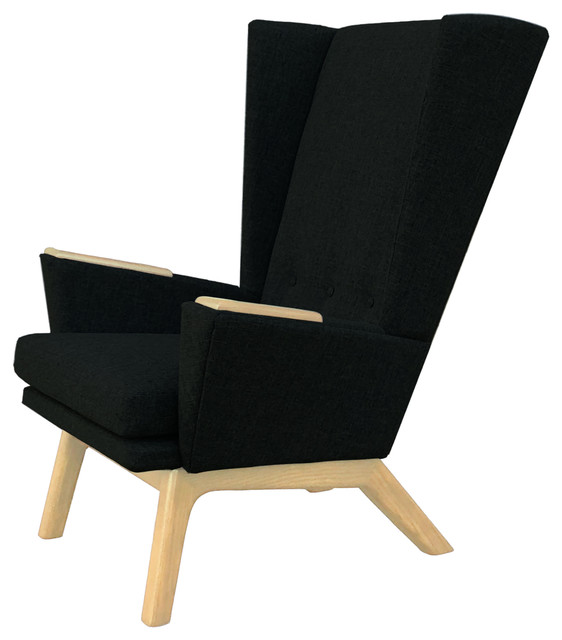 Outstanding Black Upholstered Tall Wingback Mid Century Modern Handcrafted Lounge Chair Woo Ocoug Best Dining Table And Chair Ideas Images Ocougorg