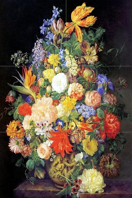 Tile Mural Bouquet of Flowers in a Vase Kitchen Backsplash, 6 Ceramic, Matte by FlekmanArt Tile Mural Hub