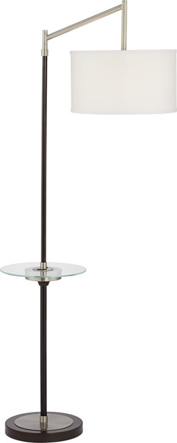 Kie Swing Arm With Glass Tray Floor Lamp, Charcoal.