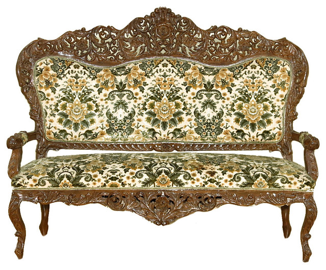 Antique overstuffed chairs - Consigned Vintage Floral Victorian Sofa Chair Settee