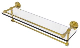 "Dottingham 22"" Gallery Glass Shelf With Towel Bar, Unlacquered Brass"