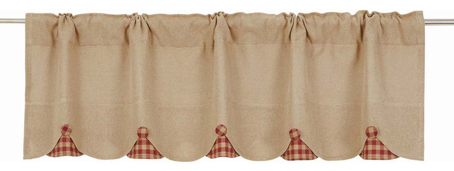 Burlap With Burgundy Check Scalloped Valance, 16x60.