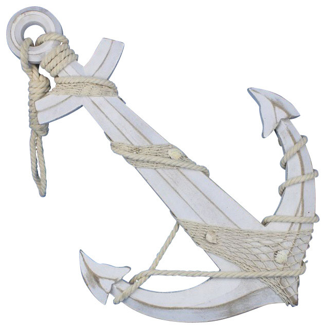 "Wooden Rustic Decorative Anchor with Hook 7/"" Nautical Decor"