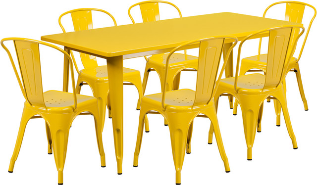 31.5''x63'' Rectangular Yellow Metal Table With 6 Stack Chairs