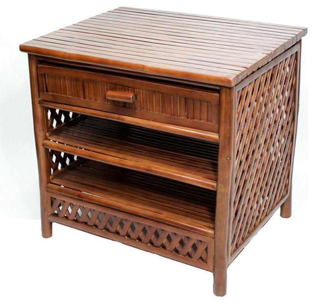Akoni 1-Drawer, 2-Shelf Bamboo End Table, Brown.
