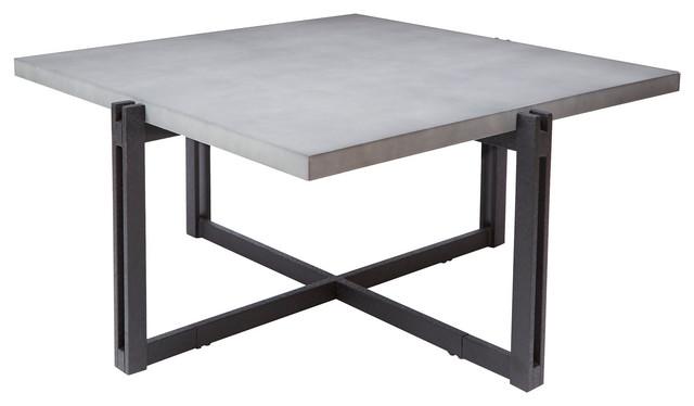 Dakota Coffee Table With Square Concrete Finish Top.