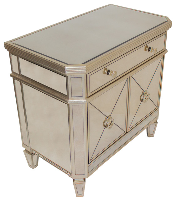Borghese Mirrored Bedroom Nightstand.