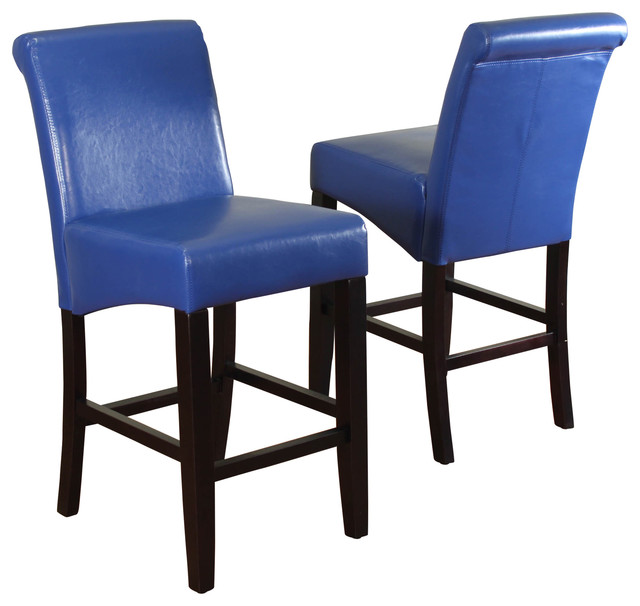 Modern Leather Bar Stools Part - 49: Milan Faux Leather Counter Stools, Set Of 2, Blue Modern-bar-stools