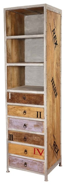 "Industrial 71"" Rustic Mango Wood 6-Drawer Accent Bookcase."