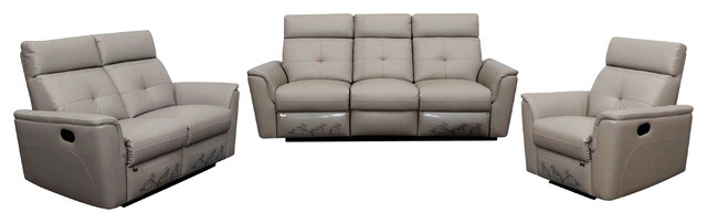 8501 Living Room Set With Recliners, Light Gray, Sofa, Loveseat, Chair