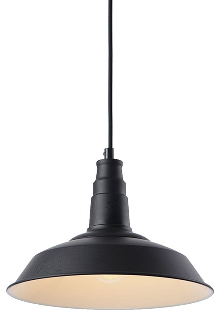1 Light Kitchen Island Pendant, Black Metal Fixture. -1