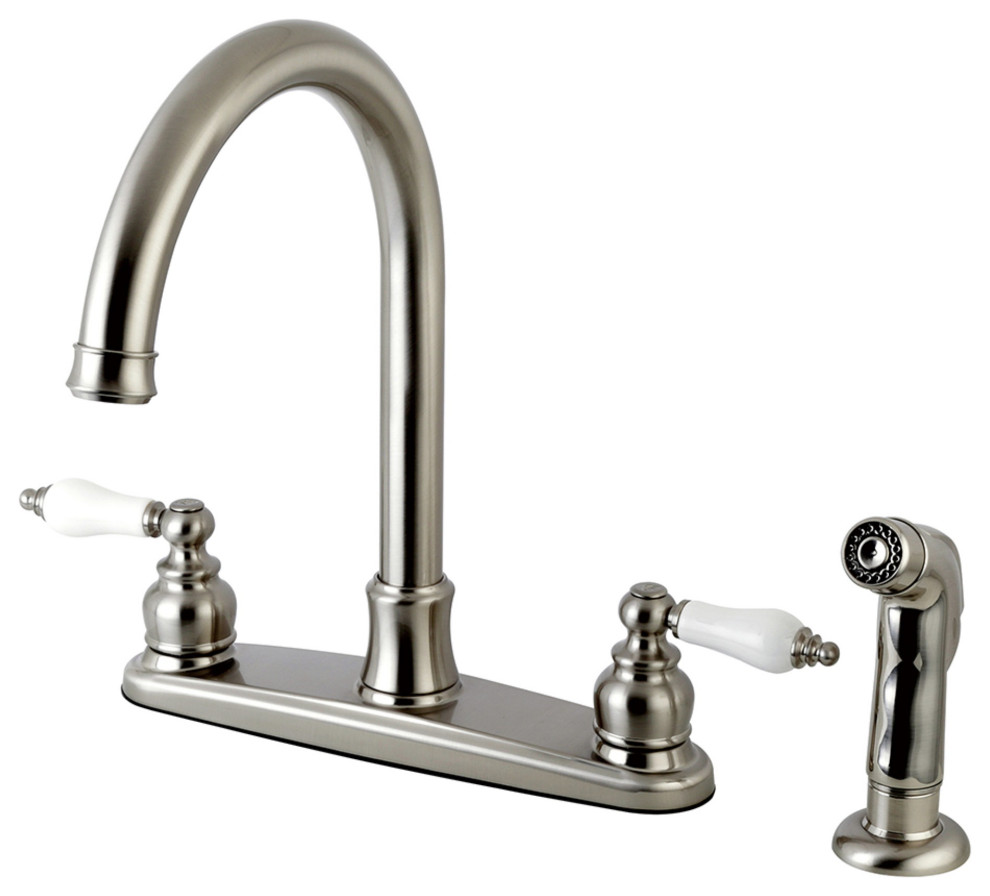 Fb7798plsp Victorian 8 Centerset Kitchen Faucet With Sprayer Brushed Nickel Traditional Kitchen Faucets By Buildcom