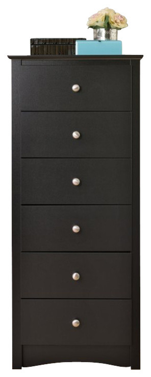 Prepac Sonoma 6 Drawer Lingerie Chest in Black Finish
