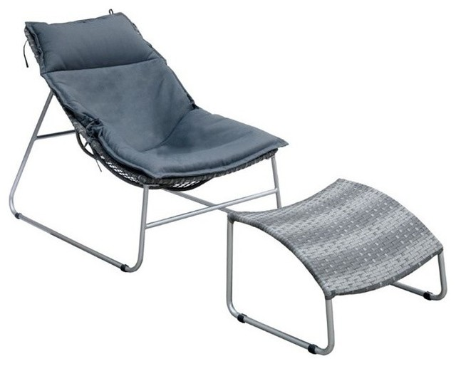 Furniture Of America Cerritos Patio Chair With Ottoman, Silver.