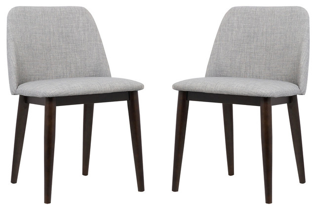 Superb Horizon Contemporary Dining Chairs With Brown Wood Legs Set Of 2 Light Gray Ncnpc Chair Design For Home Ncnpcorg