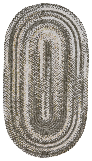 Habitat Braided Oval Rug, Gray, 5&x27;x8&x27;.