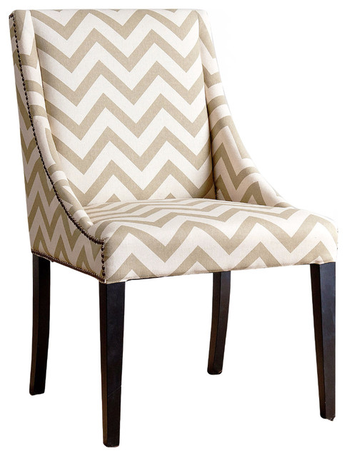 Sara Swoop Dining Chair In Gold Chevron Contemporary Dining Chairs