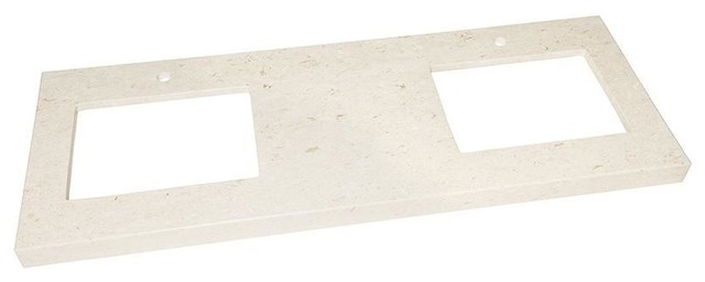 "Ronbow 61""x22"" Wide Appeal Marble Vanity Top, Cream Beige, 2.75"" Thick."