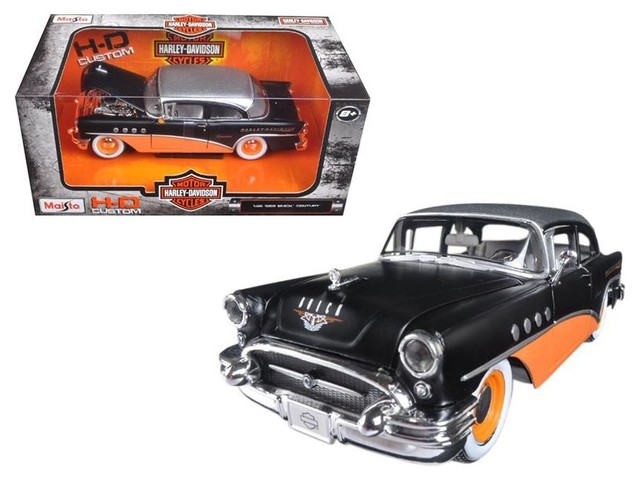 MATTE BLACK /& ORANGE 1955 BUICK CENTURY Diecast Model Car By Maisto New 1:26 W//B MAISTO HARLEY DAVIDSON COLLECTION