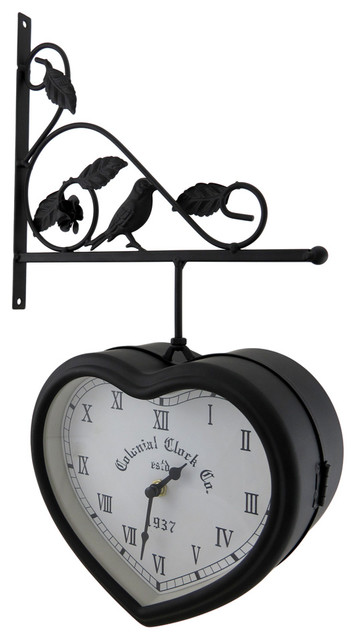 Double Sided Hanging Heart Shaped Clock w/Decorative Bracket