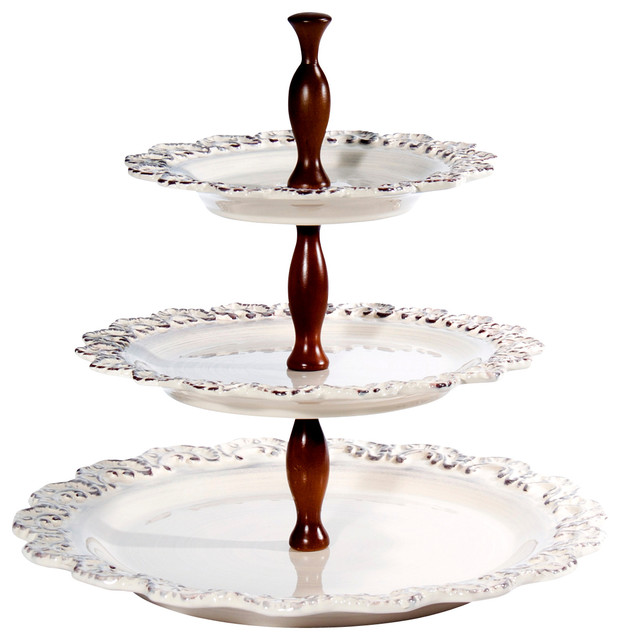 Baroque Cream 3-Tier Cake Plate, 13""