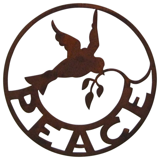 Peace Sign Wall Garden Art Traditional Outdoor Wall