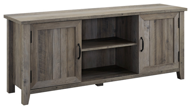 Pemberly Row Modern Mid Century Entertainment TV Stand Console Storage Cabinet in Rustic Gray Oak