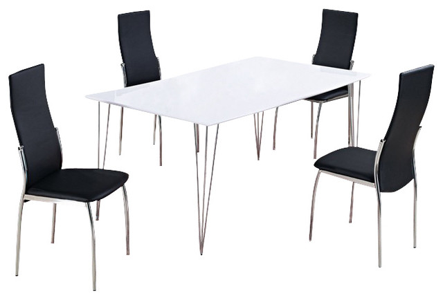 D475DT + D475DC White Gloss Table With Black Vinyl Chairs Five Piece Dining  Set Modern