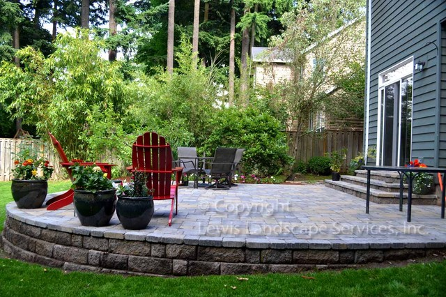 Example of a classic patio design in Portland. Sloped Backyard Ideas   Houzz