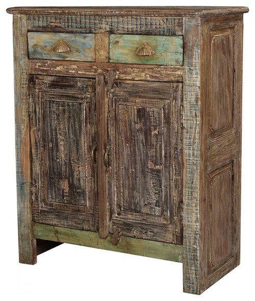 41 T Raimondo Cabinet Hand Crafted Teak Wood Distressed Painted Finish