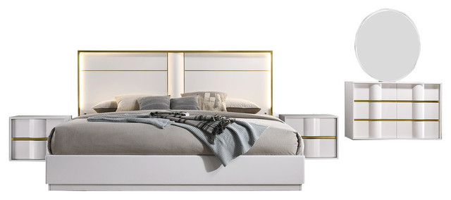 Havana 5 Piece Bedroom Set White With Gold Trimming Contemporary Bedroom Furniture Sets By Furniture Import Export Inc
