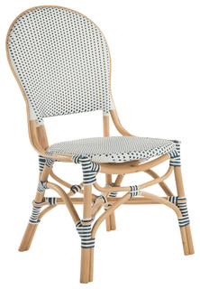 Rattan Bistro Dining Chair, White and Blue, Set of 2 Chairs, Without Arm