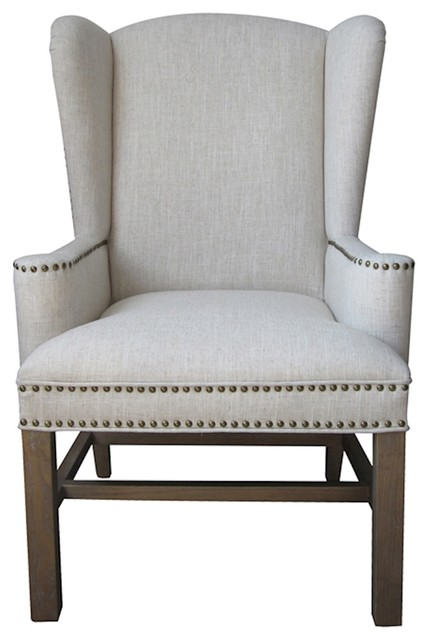 Allcott Wing Back Chair Natural Transitional