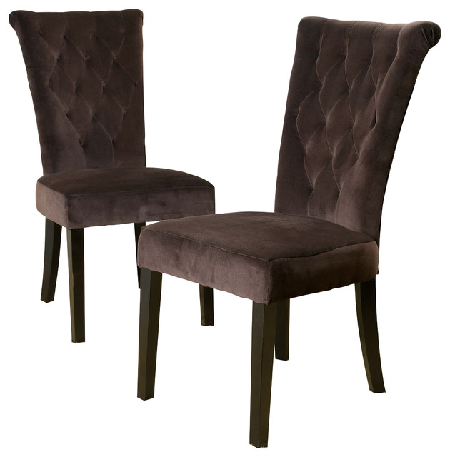 Paulina Dining Chairs, Chocolate Brown, Set Of 2 Transitional Dining Chairs