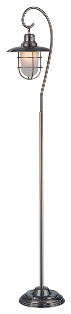 Floor Lamp, Ab And Metal Lantern And Glass Shade, E27 Cfl 13w.