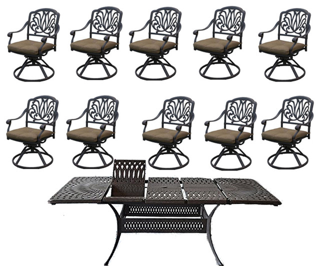 Outdoor Patio Dining Set Cast Aluminum Santa Clara Extendable Table,  11 Piece
