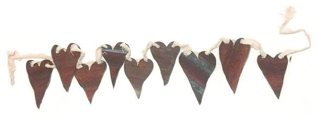 Hearts On A Ribbon Garland Corregated Metal.