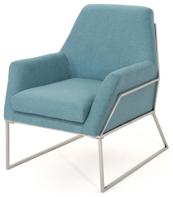 Swell Gdf Studio Zach Modern Fabric Armchair With Stainless Steel Frame Blue Pdpeps Interior Chair Design Pdpepsorg