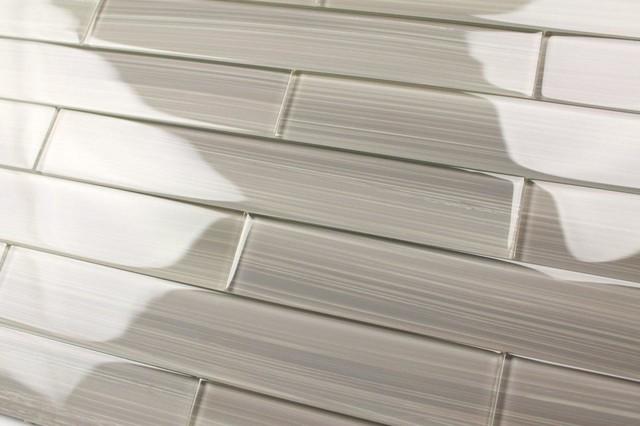 "Gainsboro Warm Gray Glass Subway Tile, 2""x12"" Tiles, Set of 30"