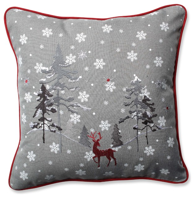 Pillow Perfect Red The Reindeer Throw Pillow 4040 Gray New Red And Gray Decorative Pillows