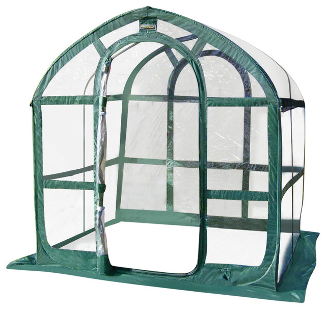 6x6 Ft. Green And Clear Polyethylene Greenhouse.