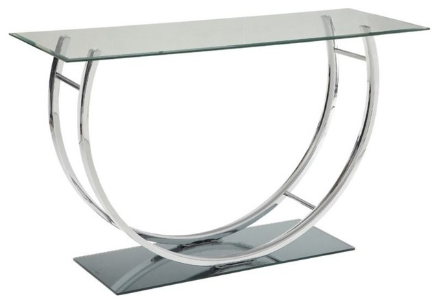 Superb Coaster Glass Top Console Table, Chrome Contemporary Console Tables