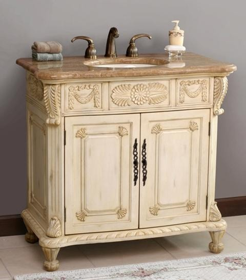 Virtu USA Casablanca - Antique Ivory - Cream Marfil Single Sink Bathroom Vanity - Victorian ...