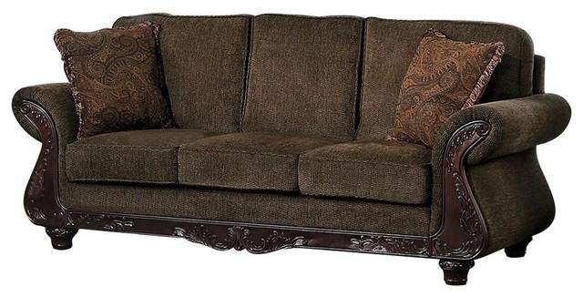Mance Wood Trim Sofa, Brown Chenille Fabric