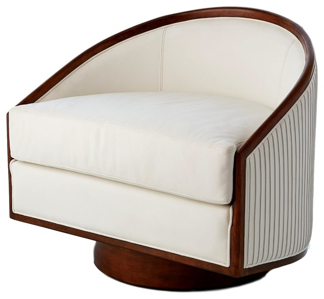Fine Mid Century Modern White Leather Swivel Tub Chair Round Dark Wood Living Room Caraccident5 Cool Chair Designs And Ideas Caraccident5Info