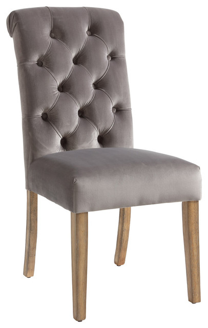 Velvet Button Tufted Side Chairs, Set Of 2, Gray Transitional Dining