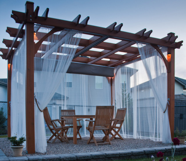 Pergola Kit 10x12 With Retractable Canopy Contemporary Patio