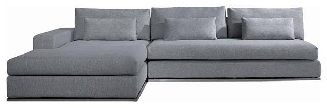 Microfiber Fabric Sectional Sofa, Gray
